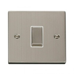 Click Deco Victorian Stainless Steel Single 10A Switch with White Insert