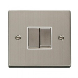 Click Deco Victorian Stainless Steel Double 10A Switch with White Inserts