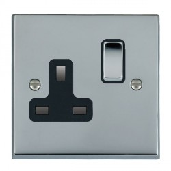 Hamilton Cheriton Victorian Bright Chrome 1 Gang 13A Switched Socket - Double Pole with Black Insert