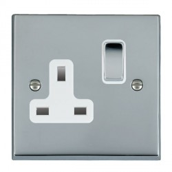 Hamilton Cheriton Victorian Bright Chrome 1 Gang 13A Switched Socket - Double Pole with White Insert