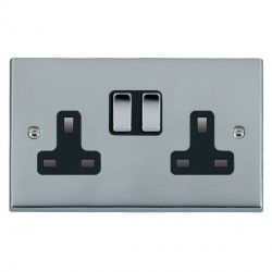 Hamilton Cheriton Victorian Bright Chrome 2 Gang 13A Switched Socket - Double Pole with Black Insert