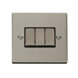Click Deco Victorian Stainless Steel 3 Gang 10A Switch with Black Inserts