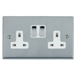 Hamilton Cheriton Victorian Bright Chrome 2 Gang 13A Switched Socket - Double Pole with White Insert