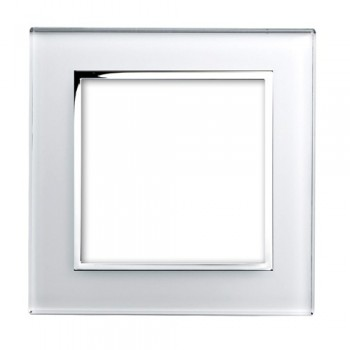 Retrotouch Crystal White Chrome Trim 2 Gang Module Plate