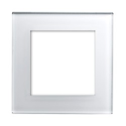 Retrotouch Crystal White Plain Glass 2 Gang Module Plate