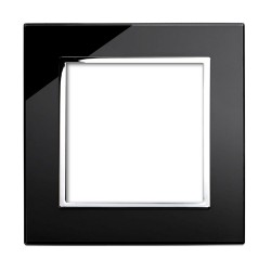 Retrotouch Crystal Black Chrome Trim 2 Gang Module Plate