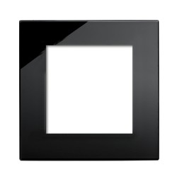 Retrotouch Crystal Black Plain Glass 2 Gang Module Plate