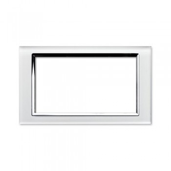 Retrotouch Crystal White Chrome Trim 4 Gang Module Plate