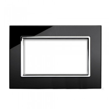 Retrotouch Crystal Black Chrome Trim 4 Gang Module Plate
