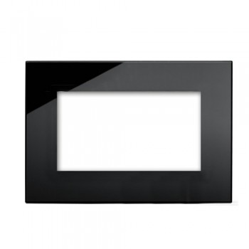 Retrotouch Crystal Black Plain Glass 4 Gang Module Plate
