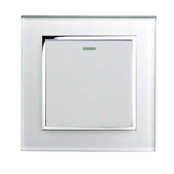 Retrotouch Crystal White Chrome Trim 1 Gang Intermediate Mechanical Light Switch