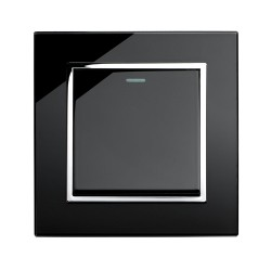 Retrotouch Crystal Black Chrome Trim 1 Gang Intermediate Mechanical Light Switch