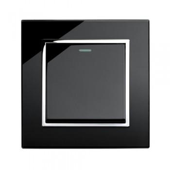 Retrotouch Crystal Black Chrome Trim 1 Gang Intermediate Mechanical Light Switch