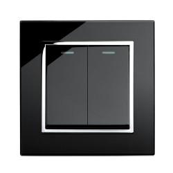 Retrotouch Crystal Black Chrome Trim 2 Gang Intermediate Mechanical Light Switch