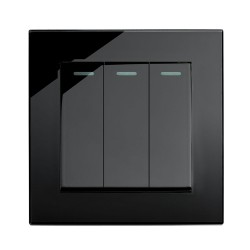Retrotouch Crystal Black Plain Glass 3 Gang Intermediate Mechanical Light Switch