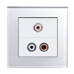 Retrotouch Crystal White Plain Glass Audio/Video Socket