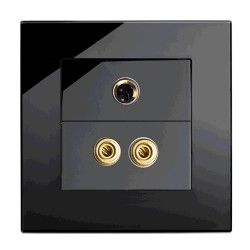 Retrotouch Crystal Black Plain Glass Audio/Video Socket