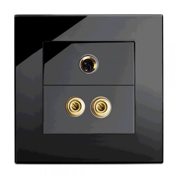 Retrotouch Crystal Black Plain Glass Audio/Video Socket