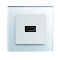 Retrotouch Crystal White Plain Glass HDMI Socket