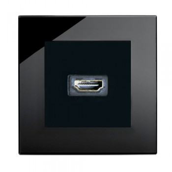 Retrotouch Crystal Black Plain Glass HDMI Socket