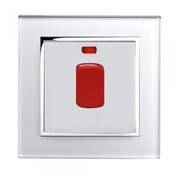 Retrotouch Crystal White Chrome Trim 20A DP Heater Switch with Neon