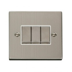 Click Deco Victorian Stainless Steel 3 Gang 10A Switch with White Inserts