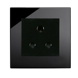 Retrotouch Crystal Black Plain Glass 5A Single Socket