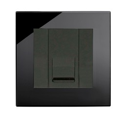 Retrotouch Crystal Black Plain Glass BT Slave Socket