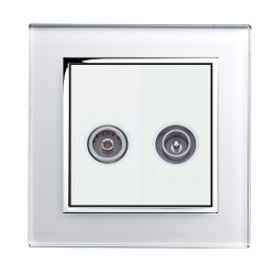 Retrotouch Crystal White Chrome Trim TV/VHF Socket