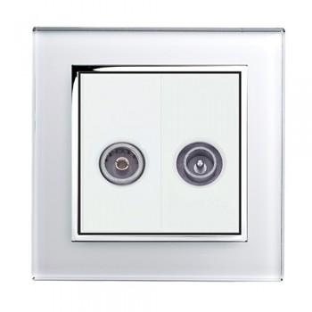 Retrotouch Crystal White Chrome Trim TV/VHF Socket