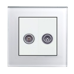 Retrotouch Crystal White Plain Glass TV/VHF Socket
