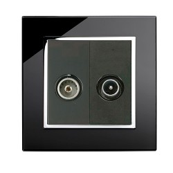 Retrotouch Crystal Black Chrome Trim TV/VHF Socket