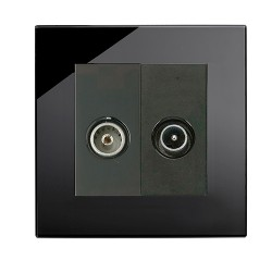 Retrotouch Crystal Black Plain Glass TV/VHF Socket