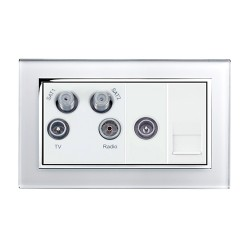 Retrotouch Crystal White Chrome Trim Media Socket