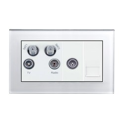Retrotouch Crystal White Plain Glass Media Socket