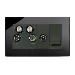 Retrotouch Crystal Black Plain Glass Media Socket