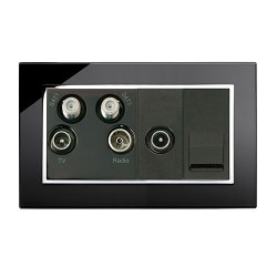 Retrotouch Crystal Black Chrome Trim Media Socket
