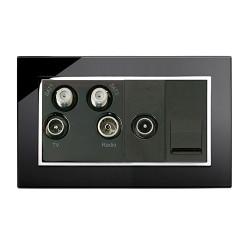 Retrotouch Crystal Black Chrome Trim Media Socket