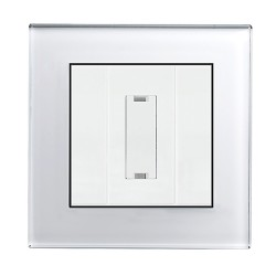 Retrotouch Crystal White Plain Glass 13A Unswitched Fused Spur