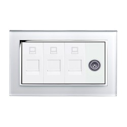 Retrotouch Crystal White Chrome Trim Triple RJ45/TV Socket