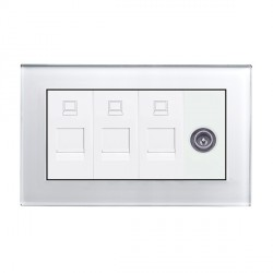 Retrotouch Crystal White Plain Glass Triple RJ45/TV Socket