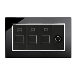 Retrotouch Crystal Black Chrome Trim Triple RJ45/TV Socket