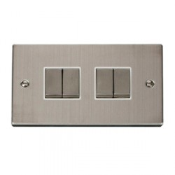 Click Deco Victorian Stainless Steel 4 Gang 10A Switch with White Inserts