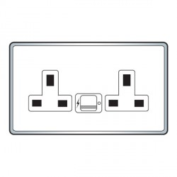 Hamilton Hartland Satin Steel 2 Gang 13A Unswitched Socket with 2 USB Power Outlets and White Insert