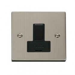 Click Deco Victorian Stainless Steel 13amp Switched Spur with Black Inserts