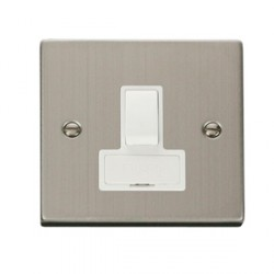 Click Deco Victorian Stainless Steel 13amp Switched Spur with White Inserts