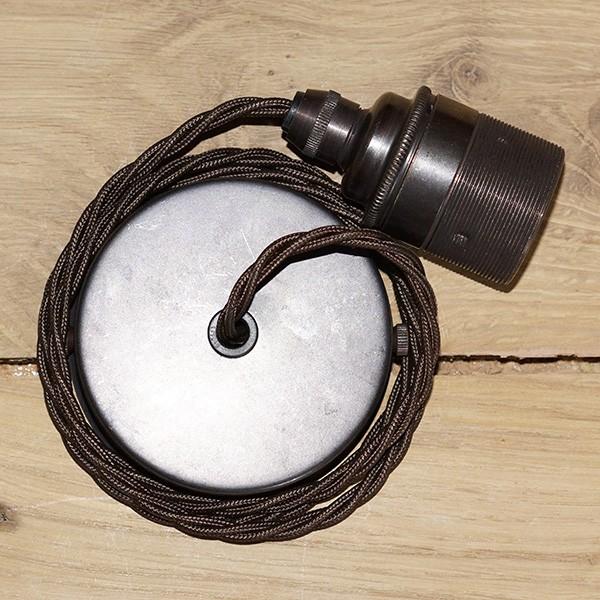 Edison screw pendant set 1 metre with bronze ceiling rose brown edison screw pendant set 1 metre with bronze ceiling rose brown braided fabric cable mozeypictures Gallery