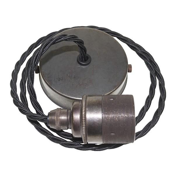 Edison screw pendant set 1 metre with bronze ceiling rose black edison screw pendant set 1 metre with bronze ceiling rose black braided fabric cable aloadofball Images