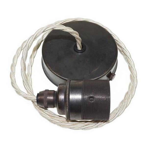Edison screw pendant set 1 metre with bronze ceiling rose cream edison screw pendant set 1 metre with bronze ceiling rose cream braided fabric cable mozeypictures Gallery