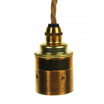 Edison Screw Pendant Set (1 Metre) with Brass Ceiling Rose, Antique Gold Braided Fabric Cable